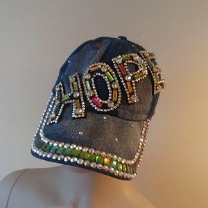 HOPE Embellished Denim Blue Jean Cap